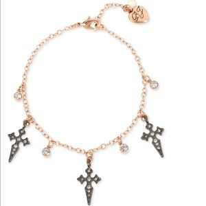 Betsey Johnson Crystal Cross Ankle Bracelet